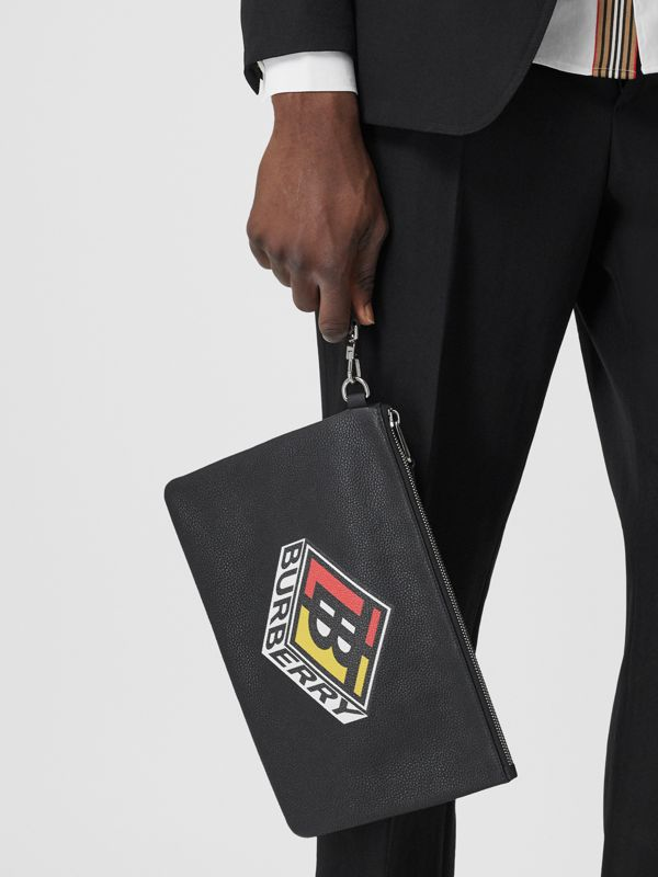 Logo Graphic Grainy Leather Zip Pouch in Black - Men   Burberry United Kingdom - cell image 2