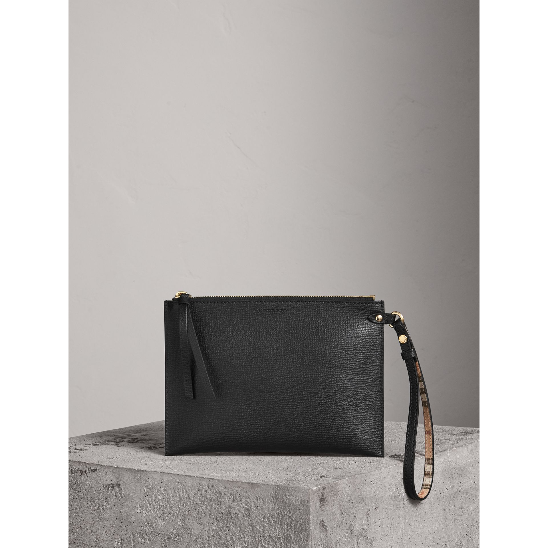 Haymarket Check and Leather Pouch in Black - Women | Burberry - gallery image 1