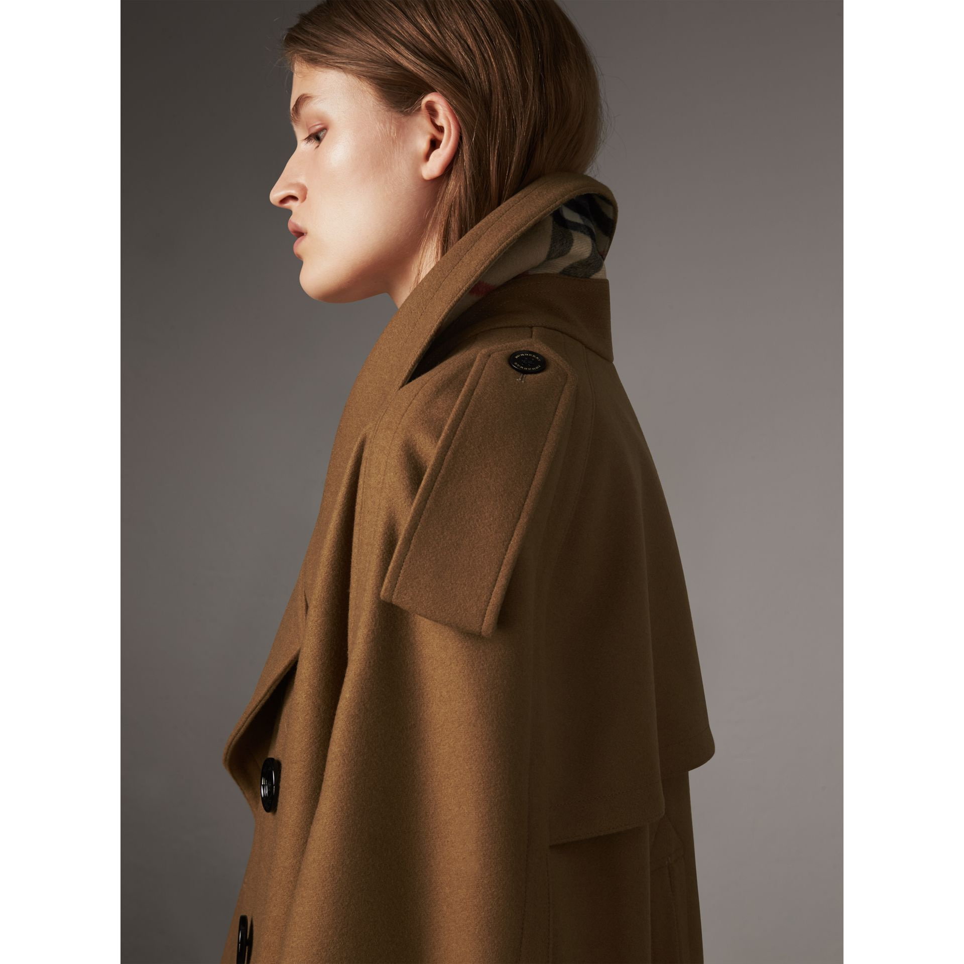Wool Double-breasted Military Cape in Camel - Women | Burberry Hong Kong - gallery image 2