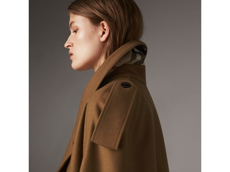 Wool Double-breasted Military Cape in Camel - Women | Burberry Hong Kong - cell image 1