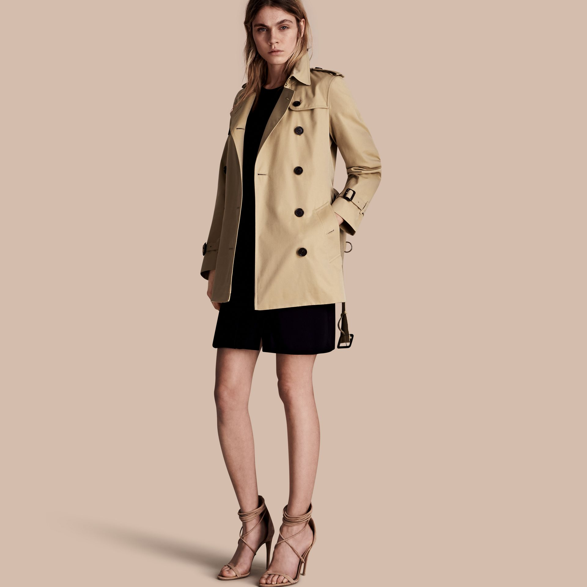 Honey The Kensington – Short Heritage Trench Coat Honey - gallery image 1