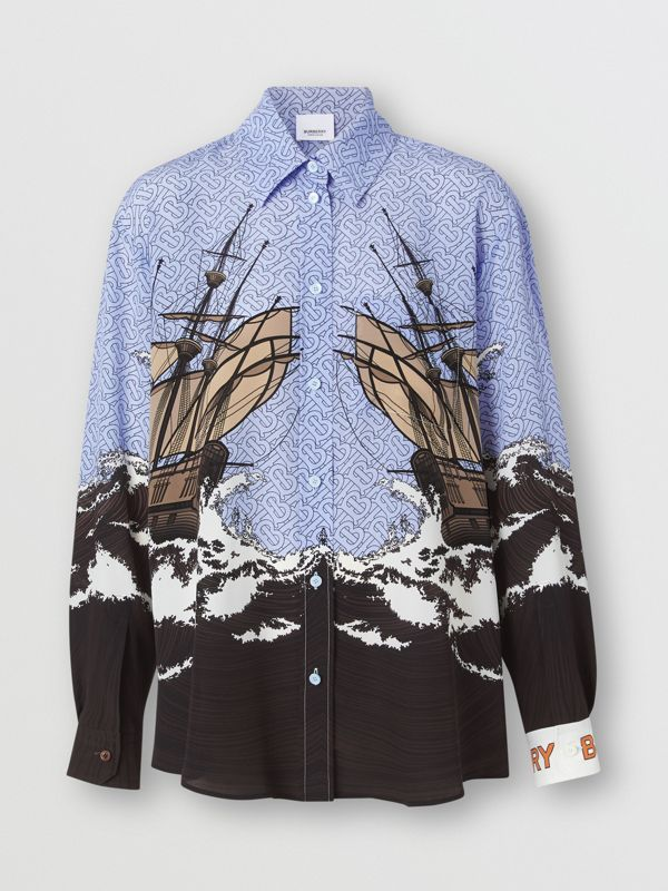 Ship Print Silk Oversized Shirt in Baby Blue - Women | Burberry - cell image 3
