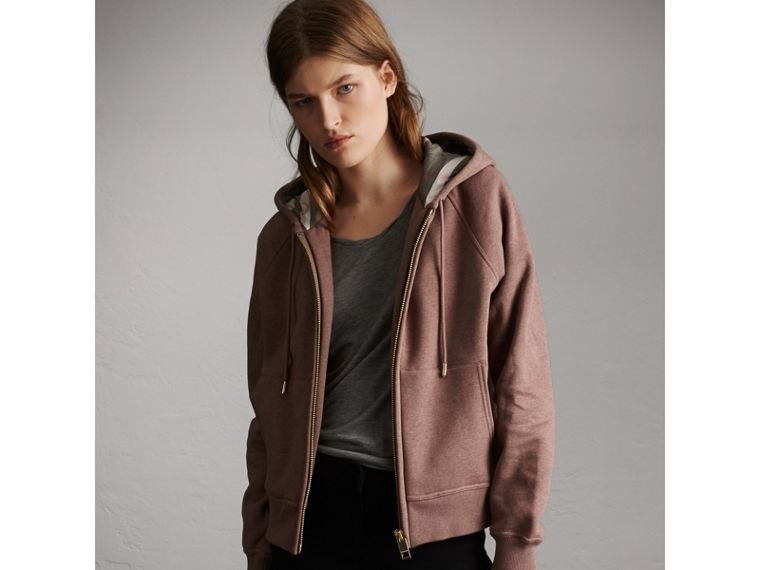 Hooded Cotton Blend Top in Antique Rose - Women | Burberry - cell image 4