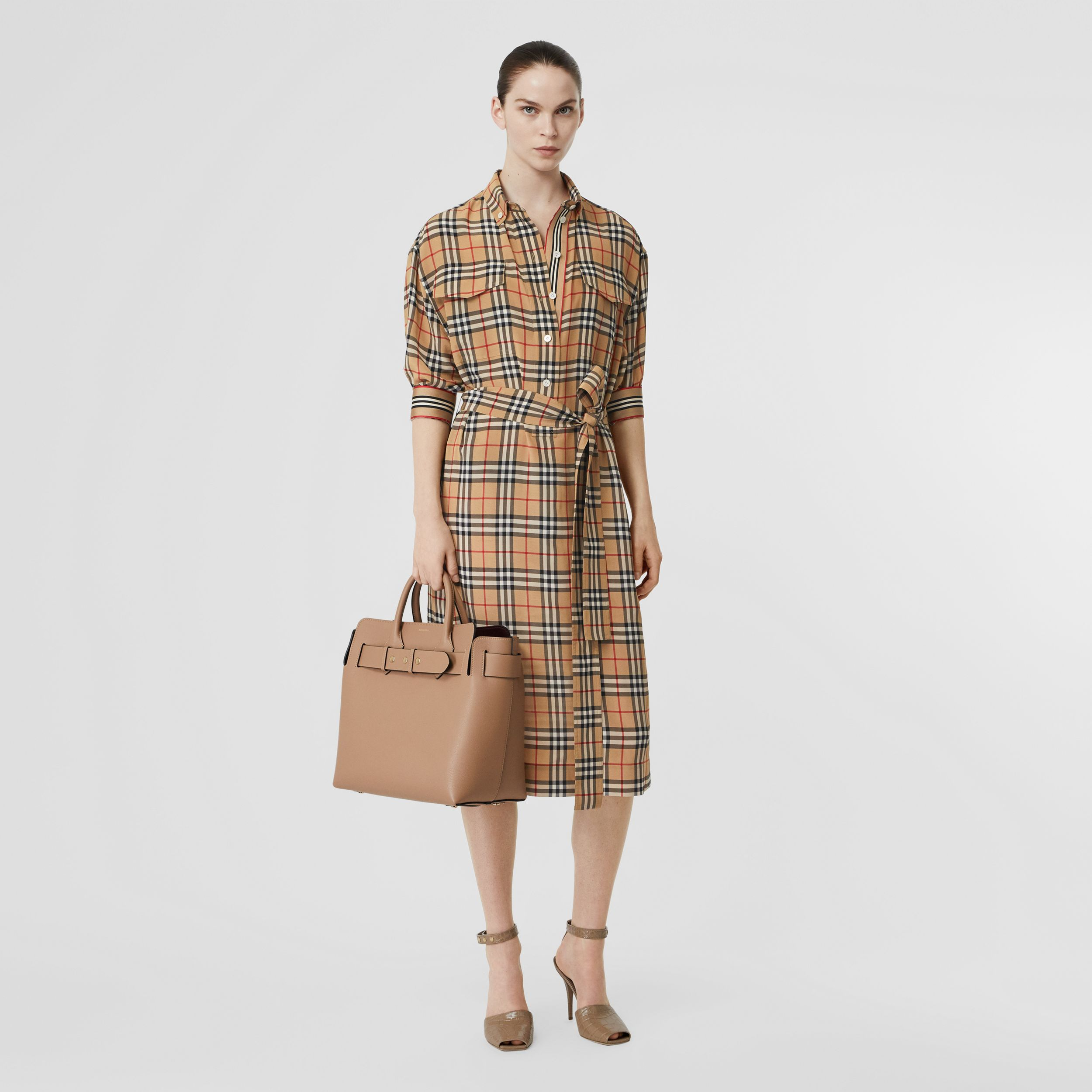 Vintage Check Silk Tie-Waist Shirt Dress in Archive Beige - Women | Burberry - 1