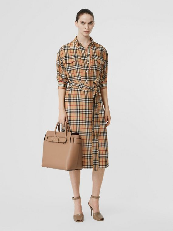 Vintage Check Silk Tie-Waist Shirt Dress in Archive Beige