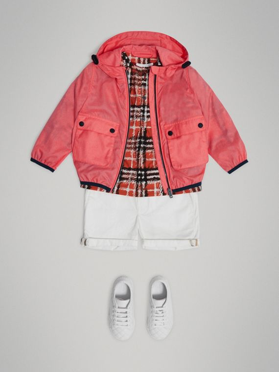 Showerproof Hooded Jacket in Bright Coral Pink - Girl | Burberry - cell image 2