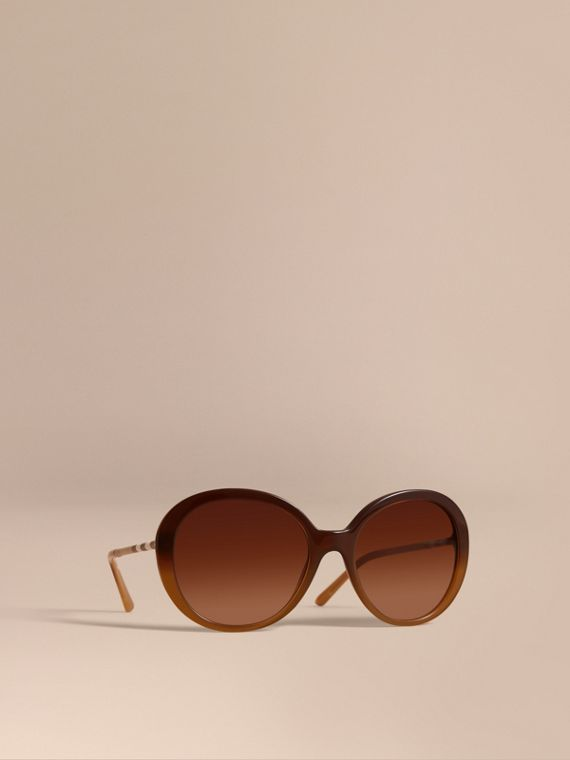 Check Detail Round Frame Sunglasses in Amber - Women | Burberry