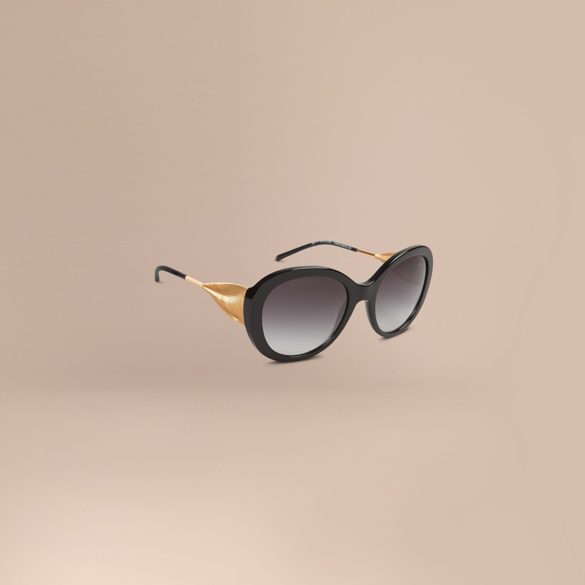 Black Oversize Round Frame Sunglasses Black - gallery image 1