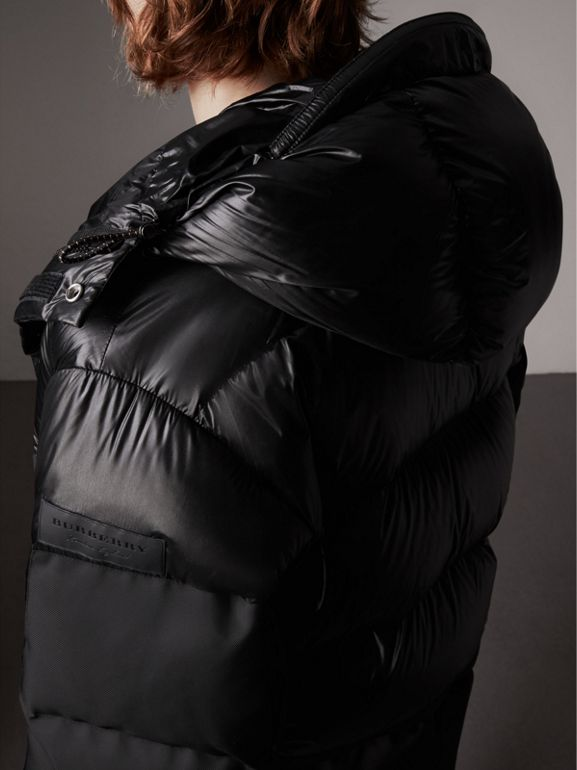 Oversized Down-filled Hooded Puffer Jacket in Black - Men | Burberry United Kingdom - cell image 1