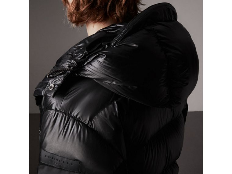 Oversized Down-filled Hooded Puffer Jacket in Black - Men | Burberry - cell image 1