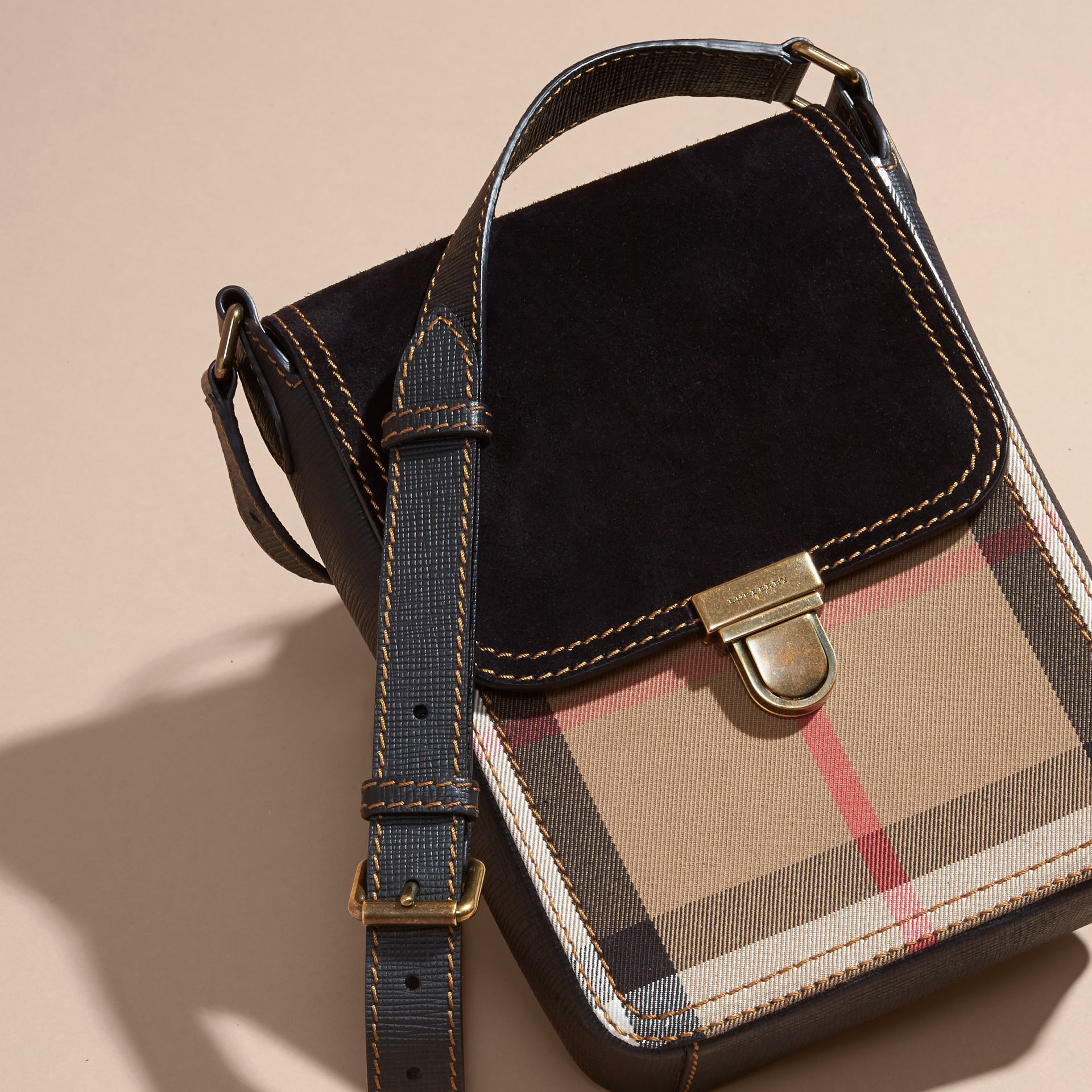 Black The Small Satchel in English Suede and House Check Black - gallery image 5