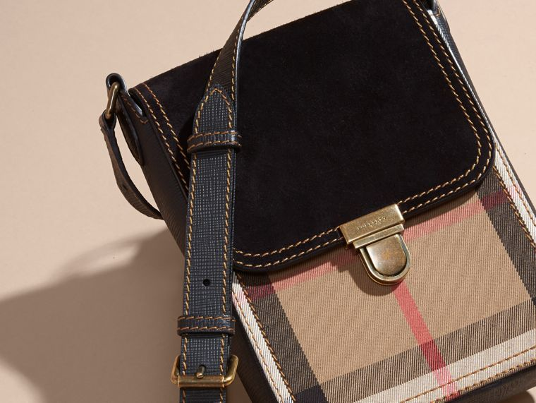 Black The Small Satchel in English Suede and House Check Black - cell image 4