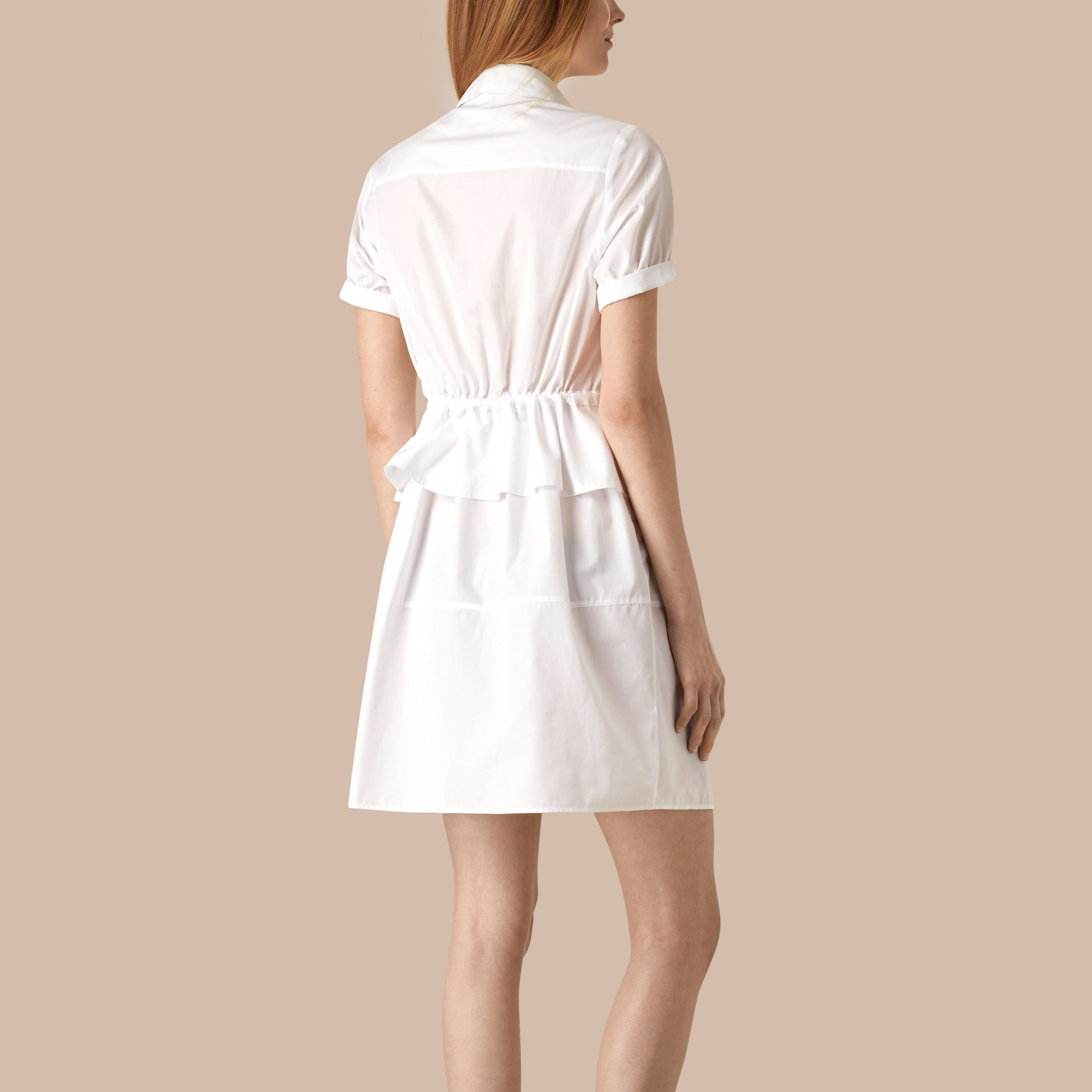 White Peplum Detail Cotton Shirt Dress - gallery image 3