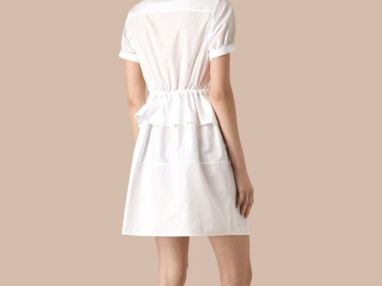 White Peplum Detail Cotton Shirt Dress - cell image 2