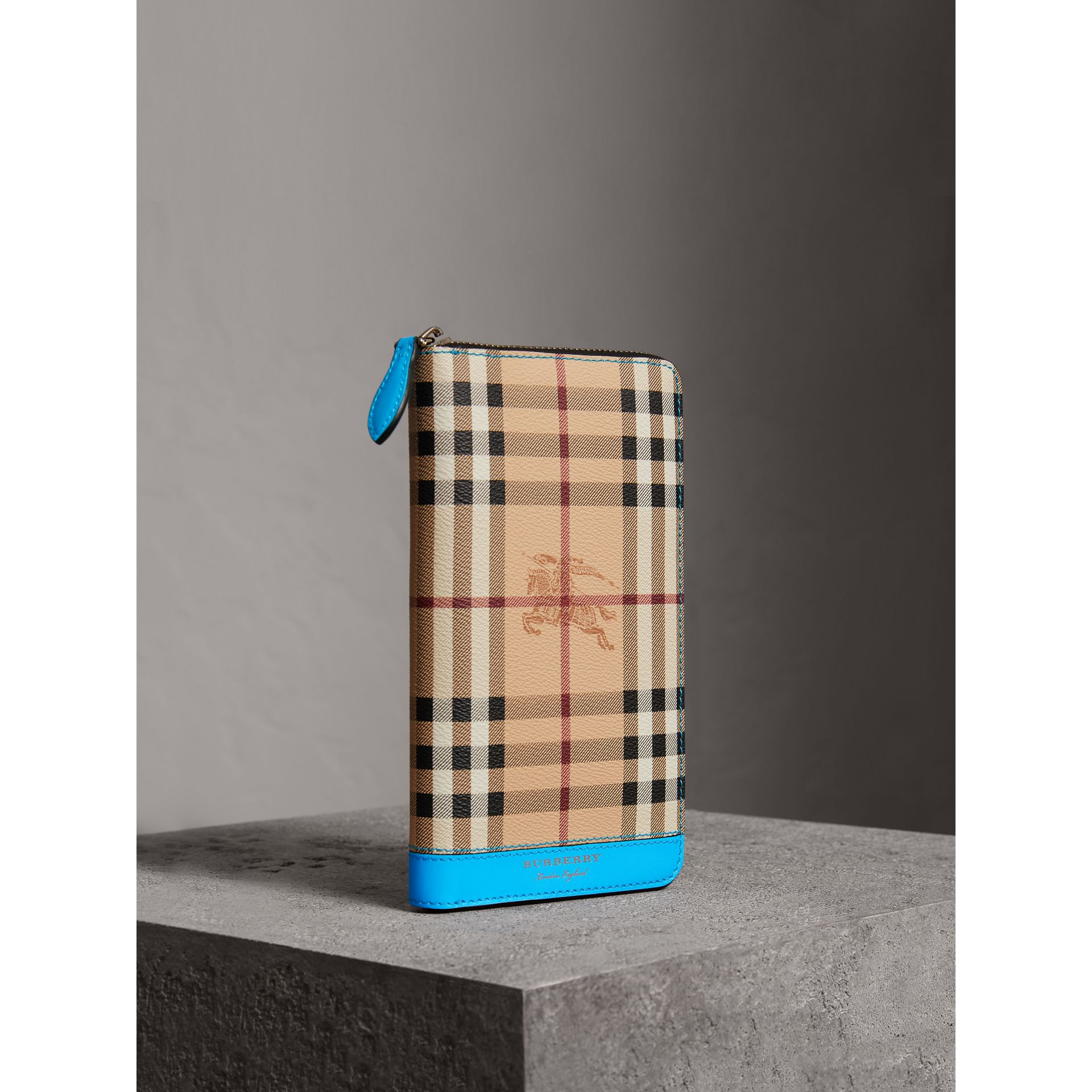 Haymarket Check and Leather Ziparound Wallet in Bright Blue - Men | Burberry Australia - gallery image 0