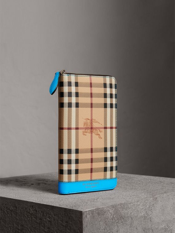 Haymarket Check and Leather Ziparound Wallet in Bright Blue
