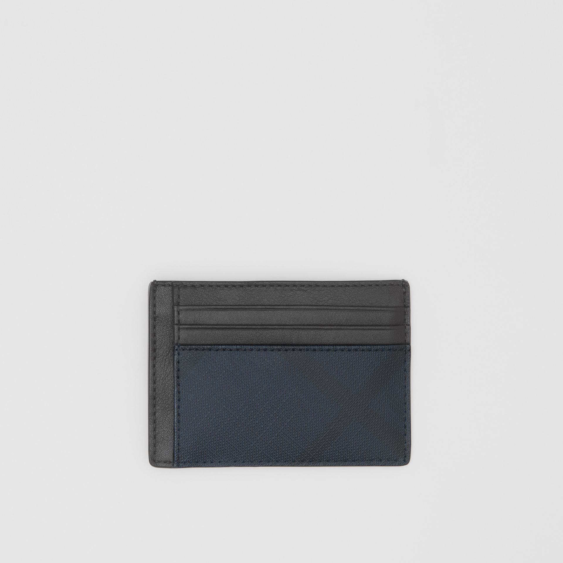 London Check and Leather Money Clip Card Case in Navy - Men | Burberry - gallery image 0