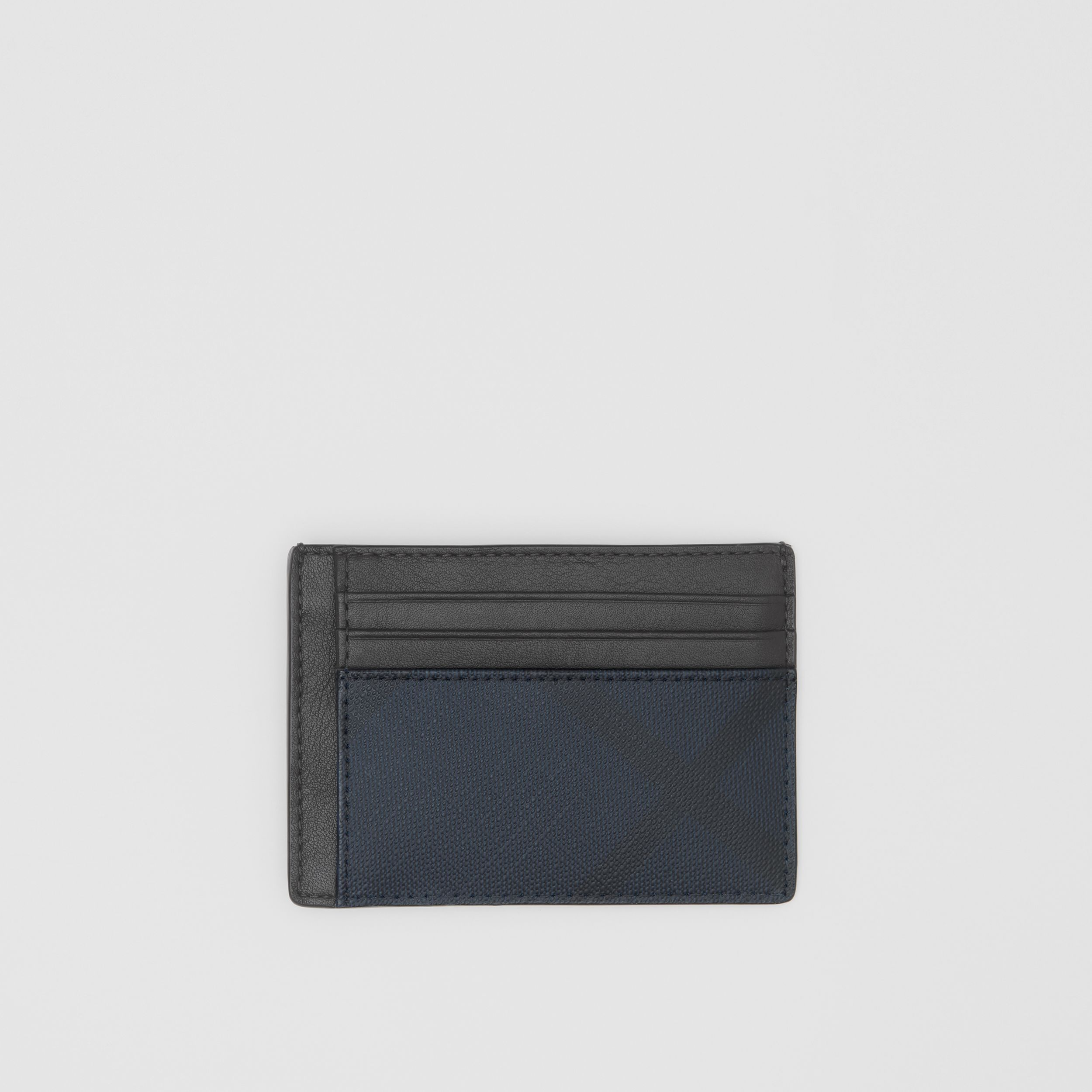 London Check and Leather Money Clip Card Case in Navy - Men | Burberry - 1