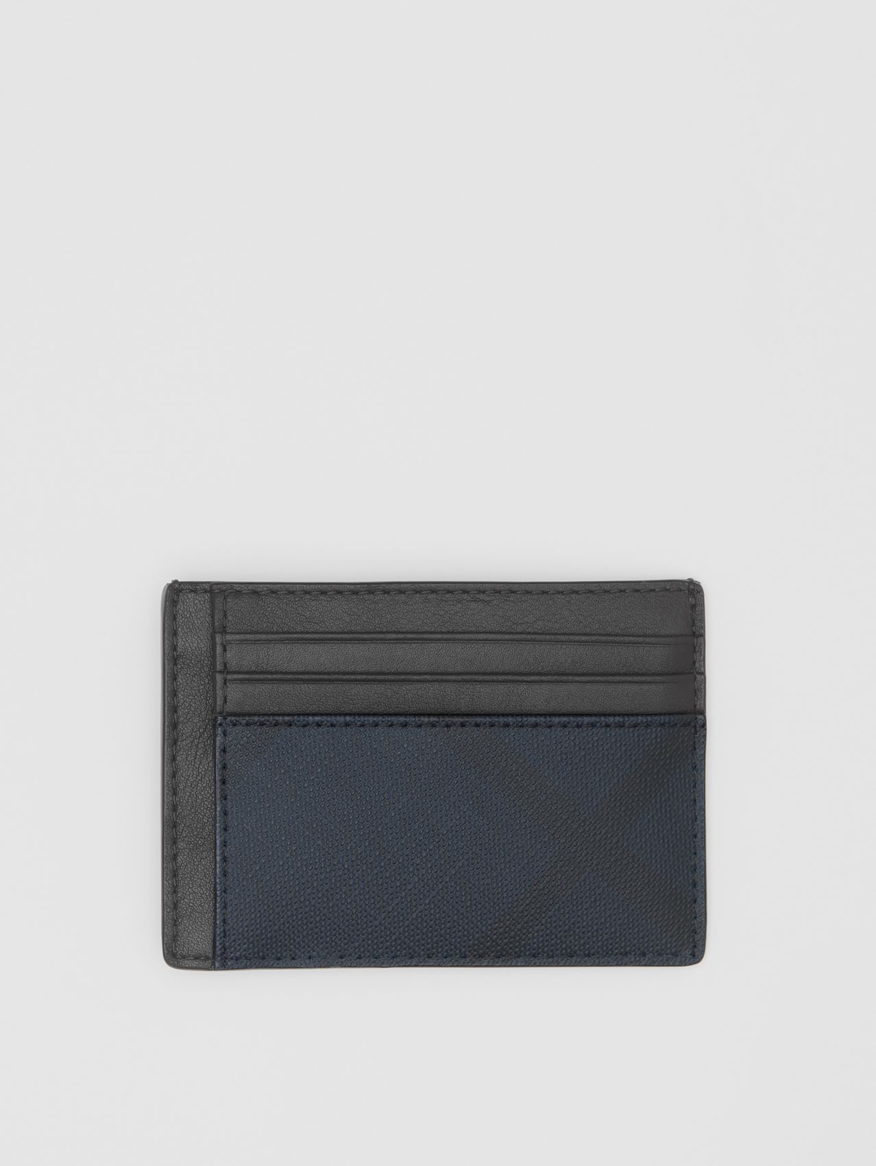 London Check and Leather Money Clip Card Case in Navy