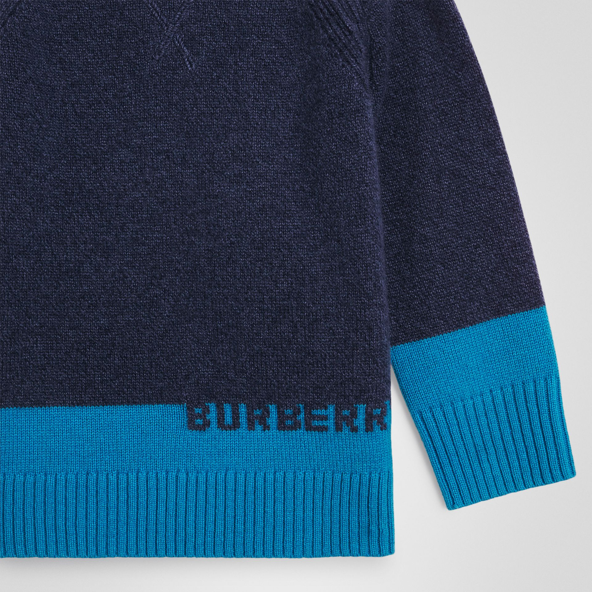 Logo Intarsia Cashmere Sweater in Navy | Burberry - gallery image 4