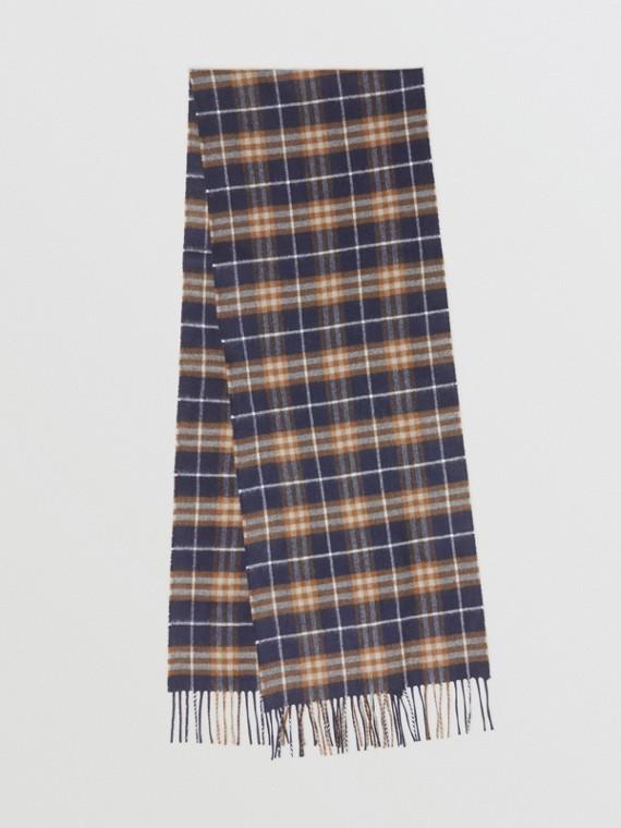 Sciarpa classica in cashmere con motivo Vintage check (Zaffiro Scuro)