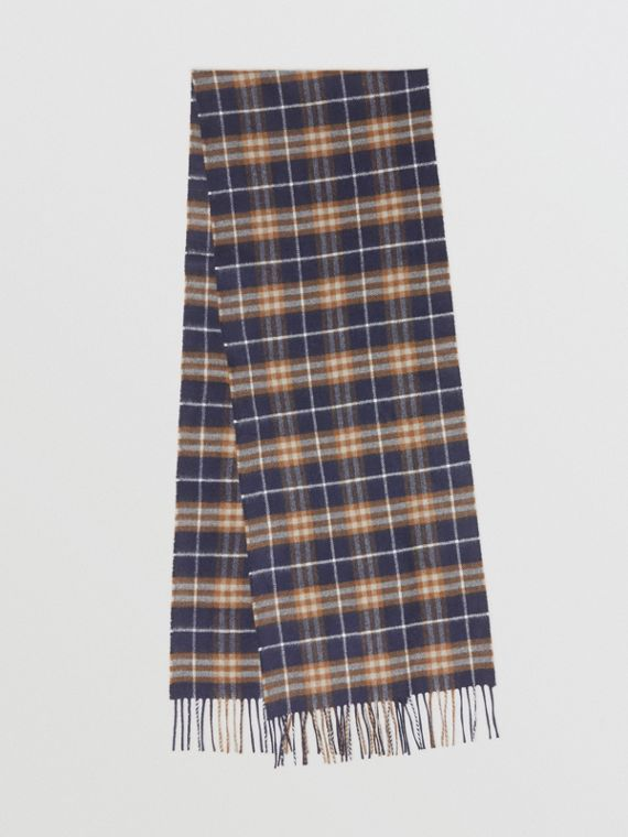 Vintage 格紋經典喀什米爾圍巾 (暗寶石藍)