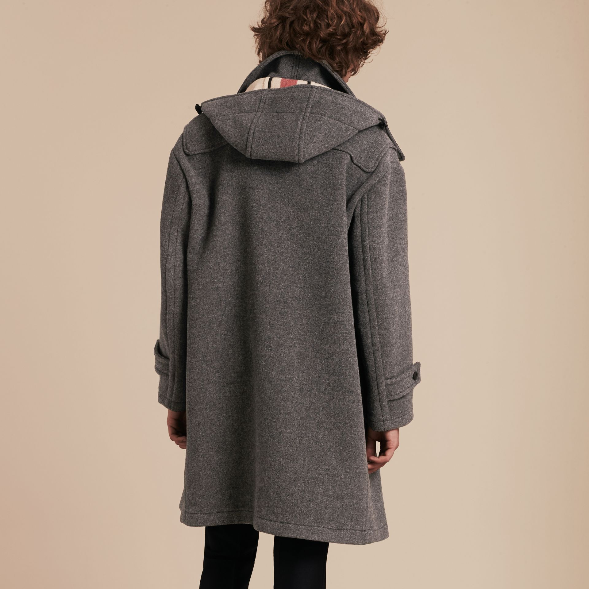 Mid grey Double Splittable Wool Blend Duffle Coat - gallery image 3