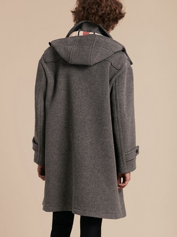 Mid grey Double Splittable Wool Blend Duffle Coat - cell image 2