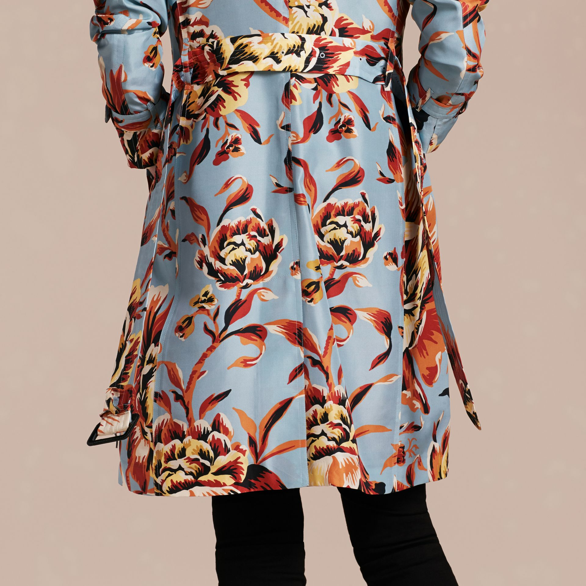 Vibrant orange Peony Rose Print Silk Trench Coat - gallery image 5