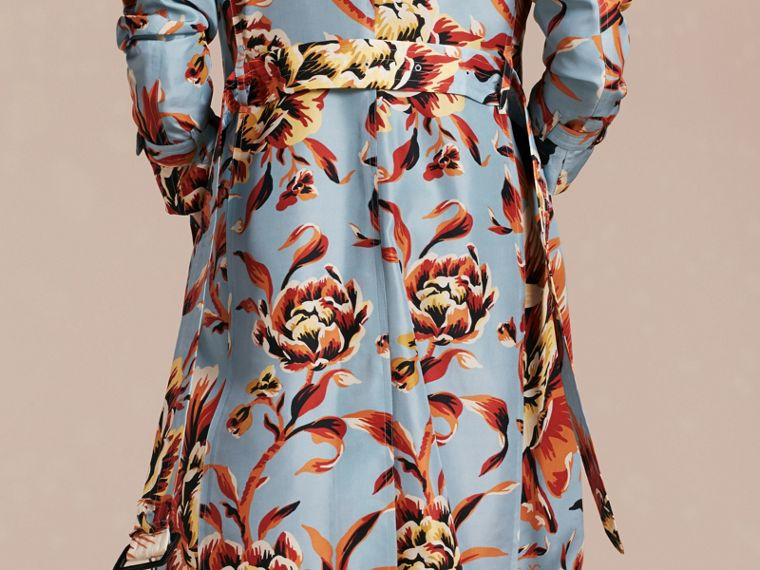 Vibrant orange Peony Rose Print Silk Trench Coat - cell image 4