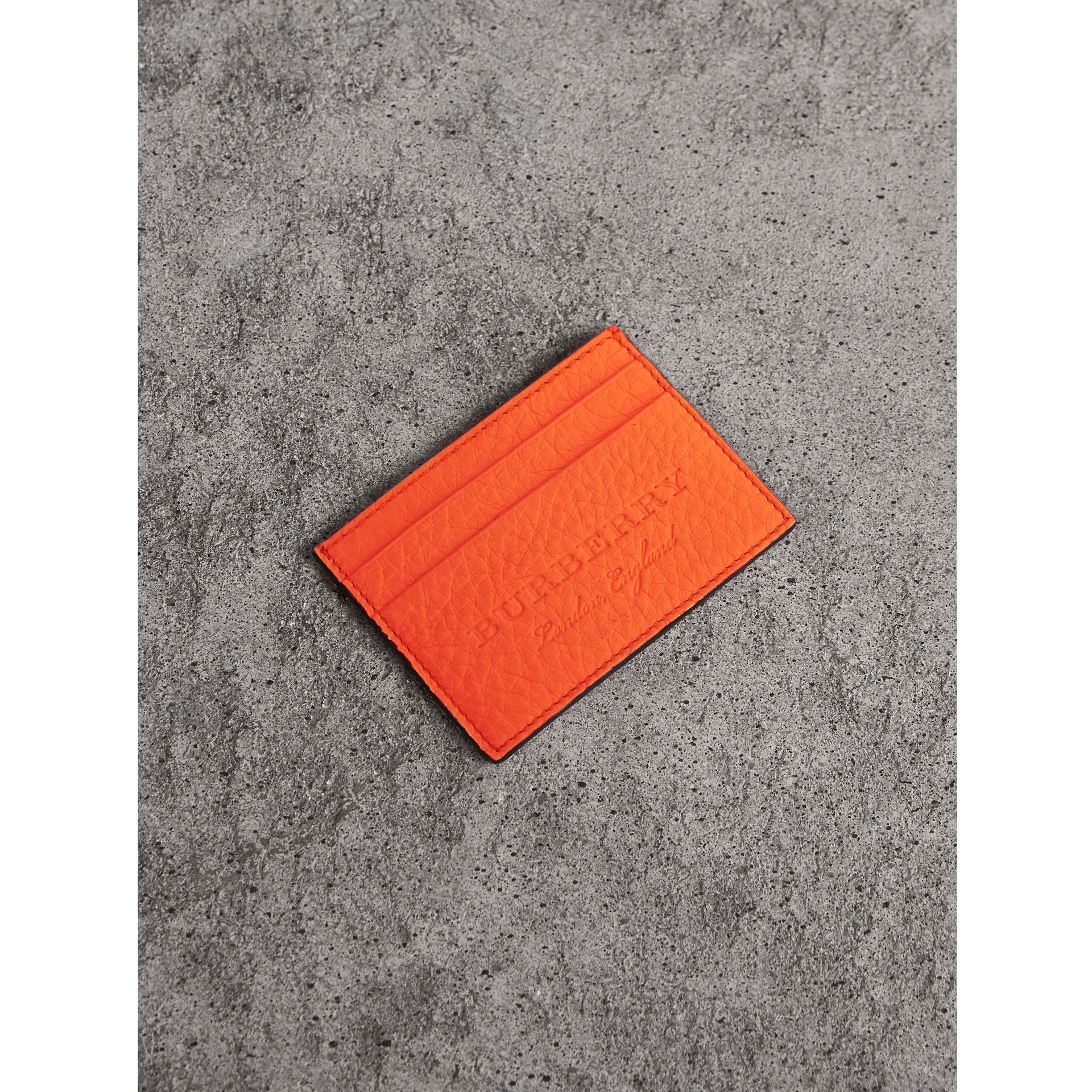 Embossed Textured Leather Card Case in Neon Orange | Burberry - gallery image 0