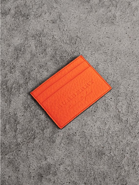 Embossed Textured Leather Card Case in Neon Orange