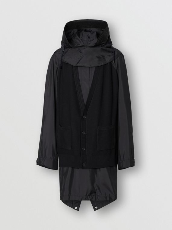 Detachable Hood Knit Detail Nylon Parka in Dark Navy