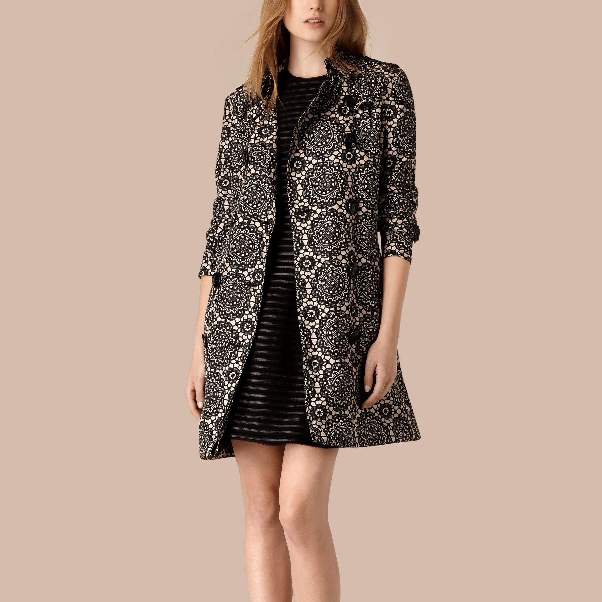 Stone/black Lace Print Unlined Silk Trench Coat - gallery image 3