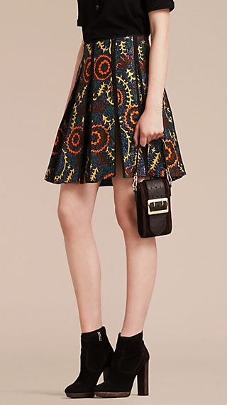 Floral Jacquard Military Pleat Skirt