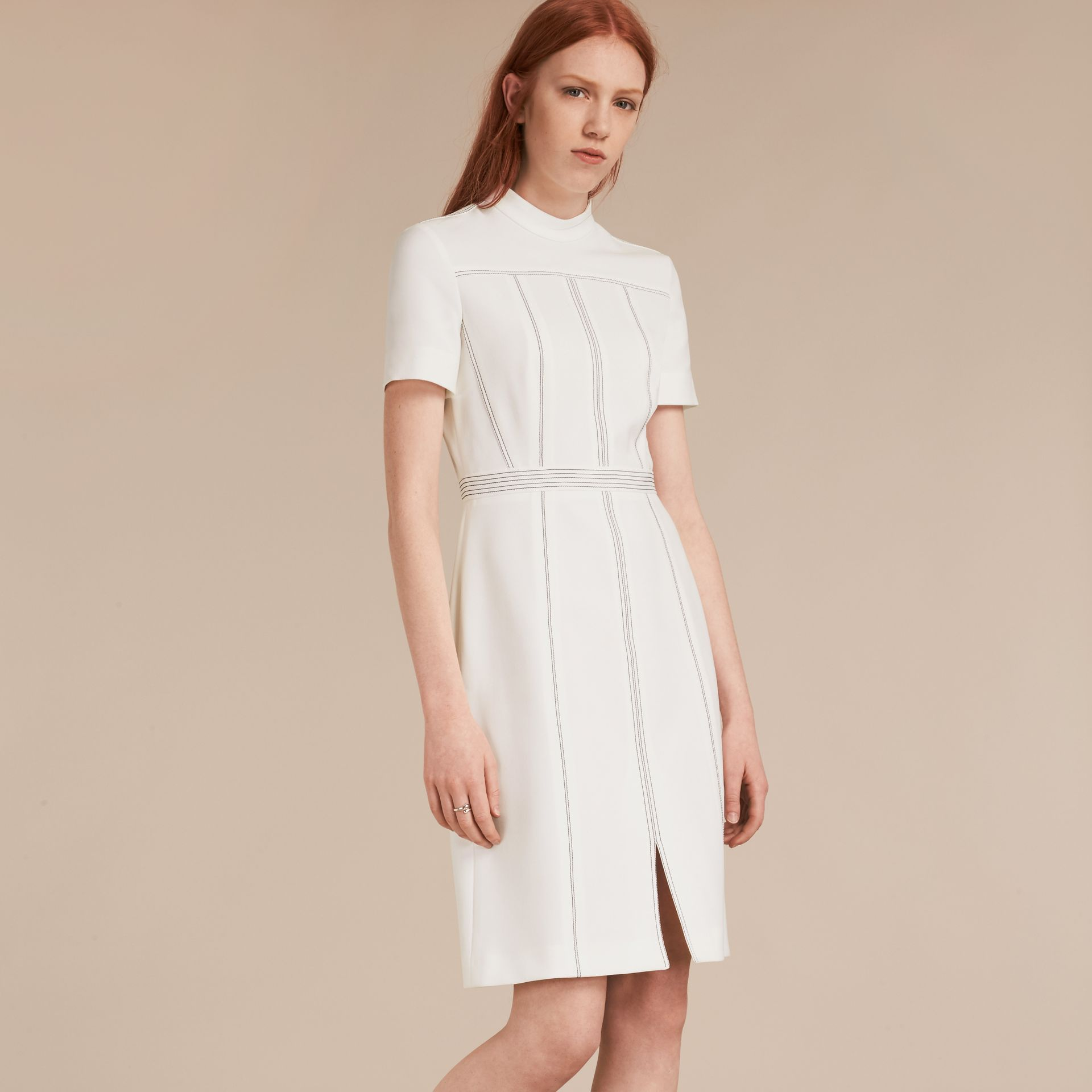 Natural white Topstitch Detail Shift Dress - gallery image 6