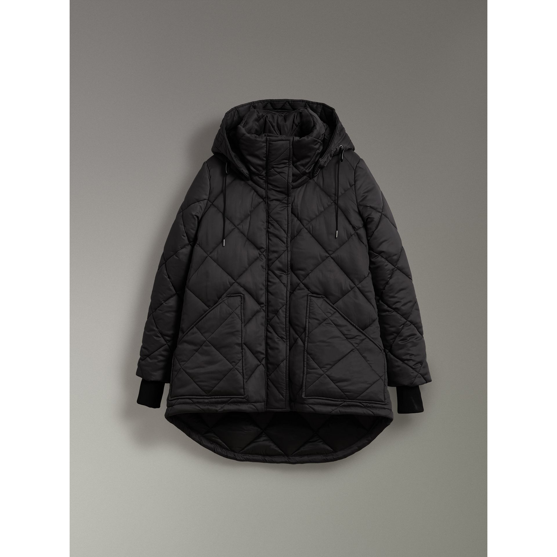 Detachable Hood Quilted Oversized Jacket in Black - Women | Burberry - gallery image 3