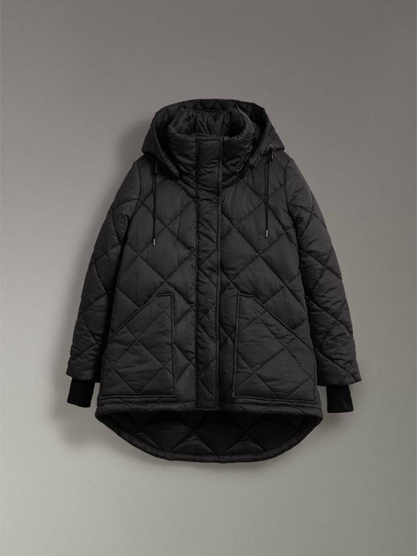 Detachable Hood Quilted Oversized Jacket in Black - Women | Burberry - cell image 3