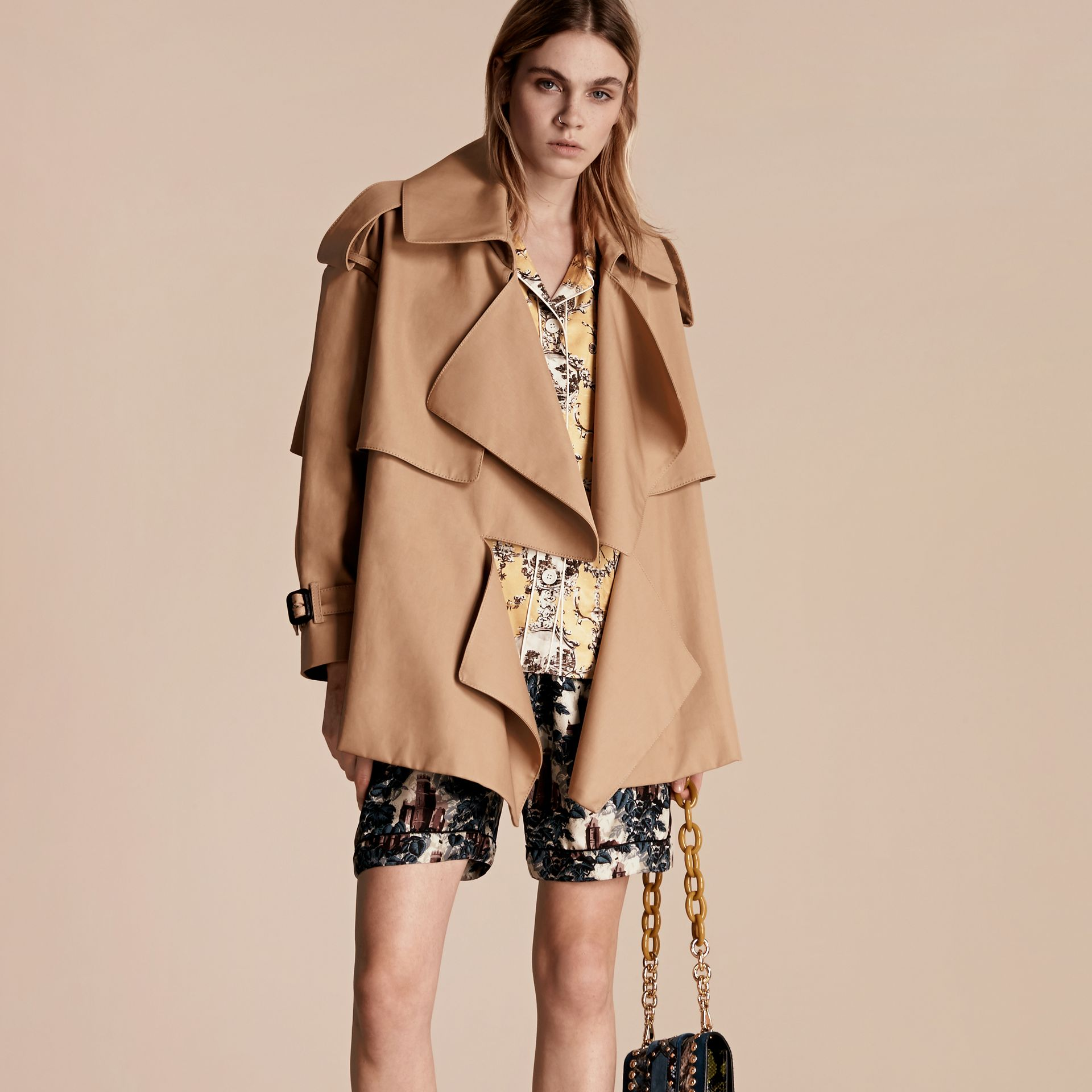 Honey Cotton Gabardine Deconstructed Cropped Trench Coat - gallery image 7