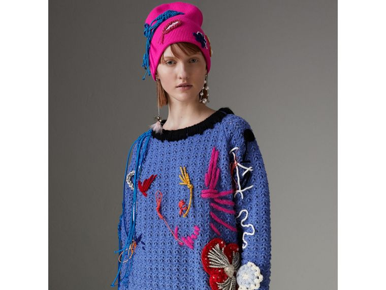 Embellished Wool Lace Sweater in Cornflower Blue - Women | Burberry Hong Kong - cell image 4