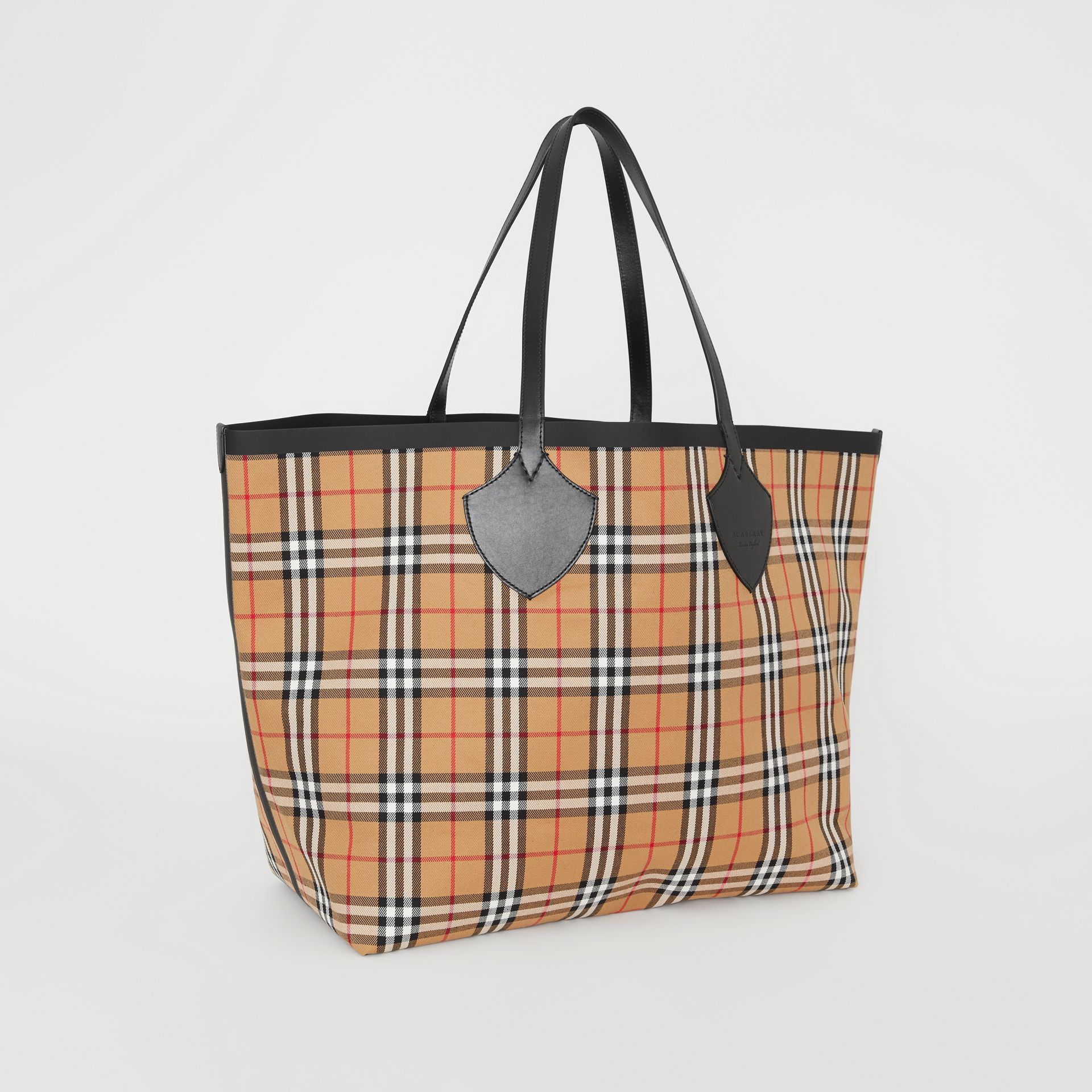 Sac tote The Giant réversible en coton à motif Vintage check (Jaune Antique) | Burberry - photo de la galerie 6
