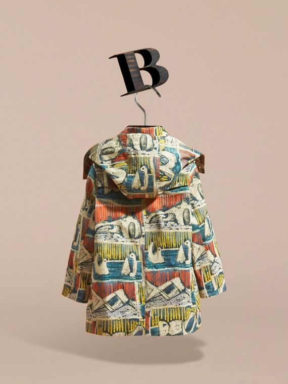 Reclining Figures Print Hooded Cotton Trench Coat - cell image 3