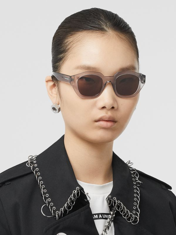 Geometric Frame Sunglasses in Grey - Women | Burberry United Kingdom - cell image 2