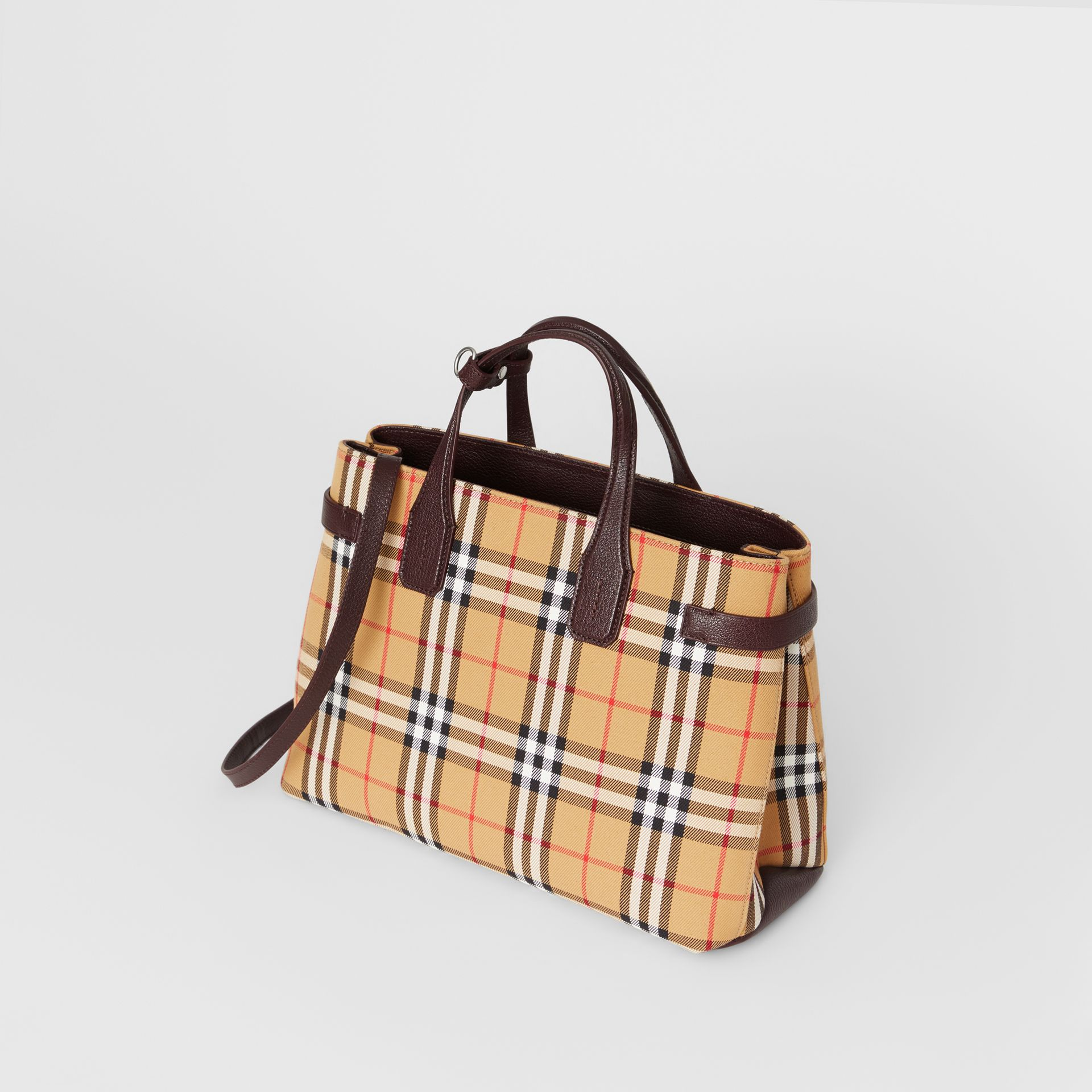 The Medium Banner in Vintage Check and Leather in Deep Claret - Women | Burberry United Kingdom - gallery image 4