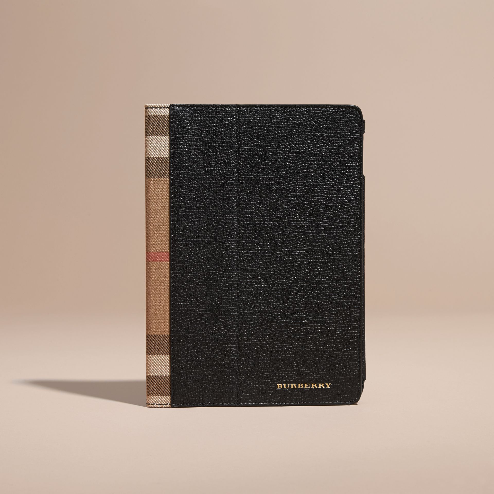 Grainy Leather and House Check iPad Case Black - gallery image 5