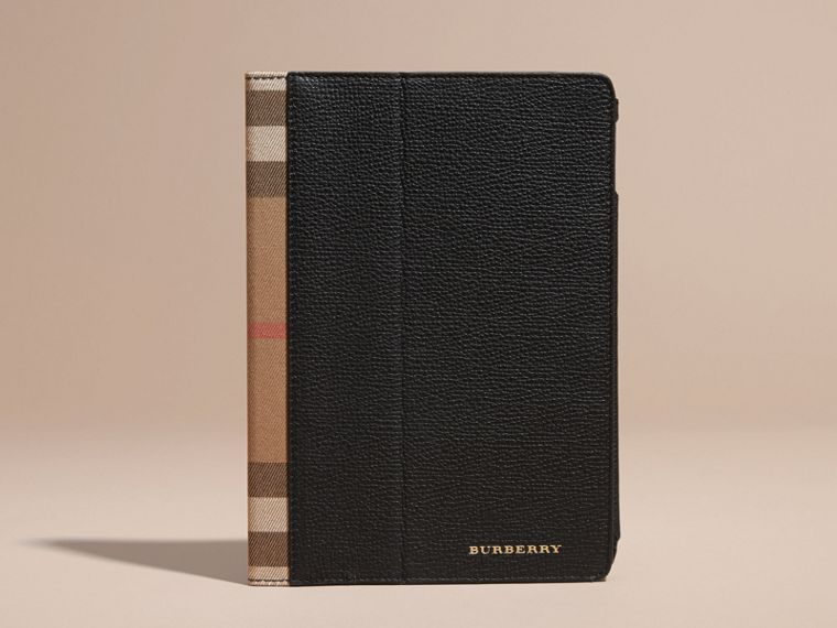 Black Grainy Leather and House Check iPad Case Black - cell image 4
