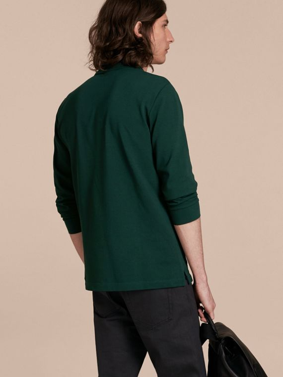 Racing green Check Placket Long Sleeve Polo Shirt Racing Green - cell image 2