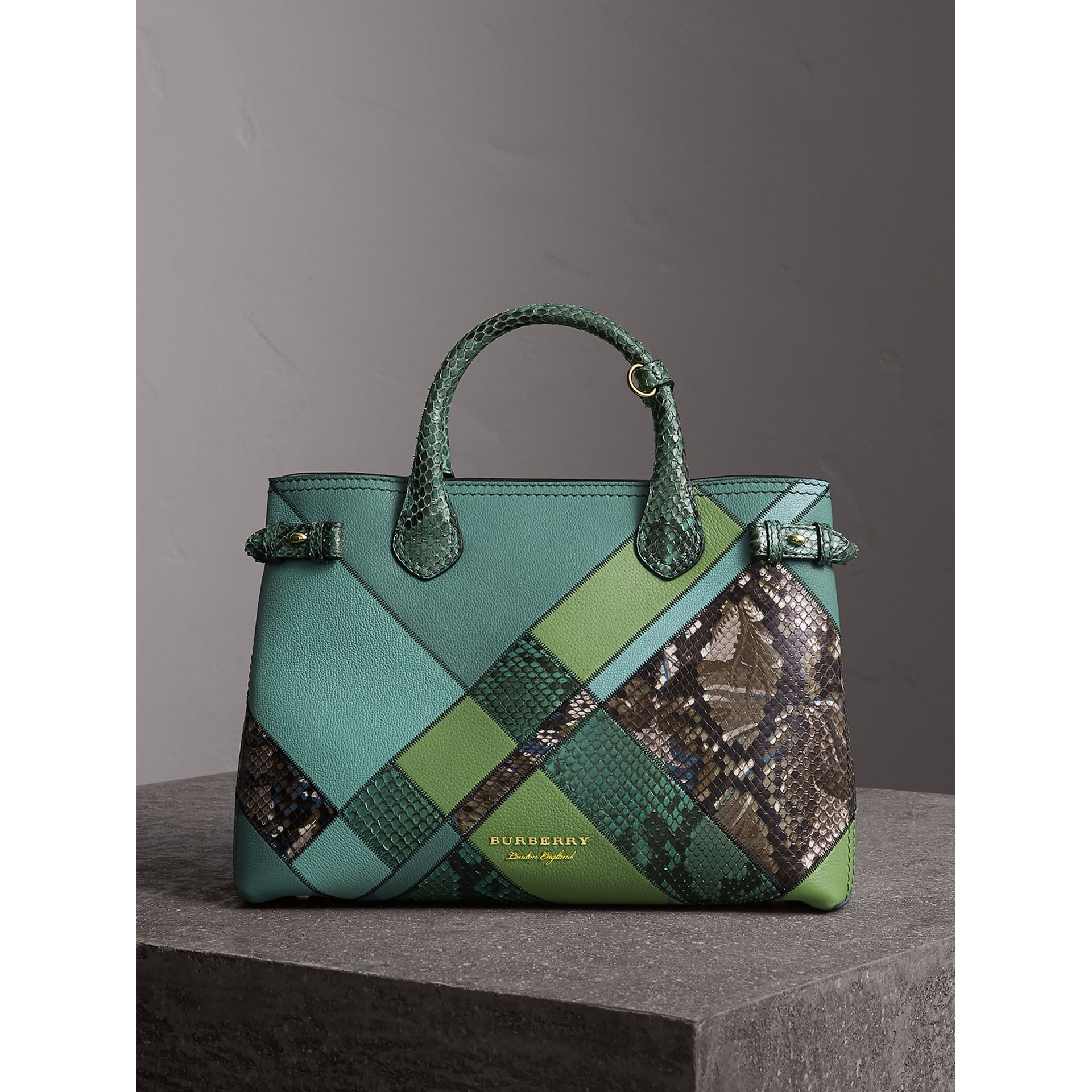 The Medium Banner in Patchwork Leather and Python in Celadon Blue - Women | Burberry - gallery image 8