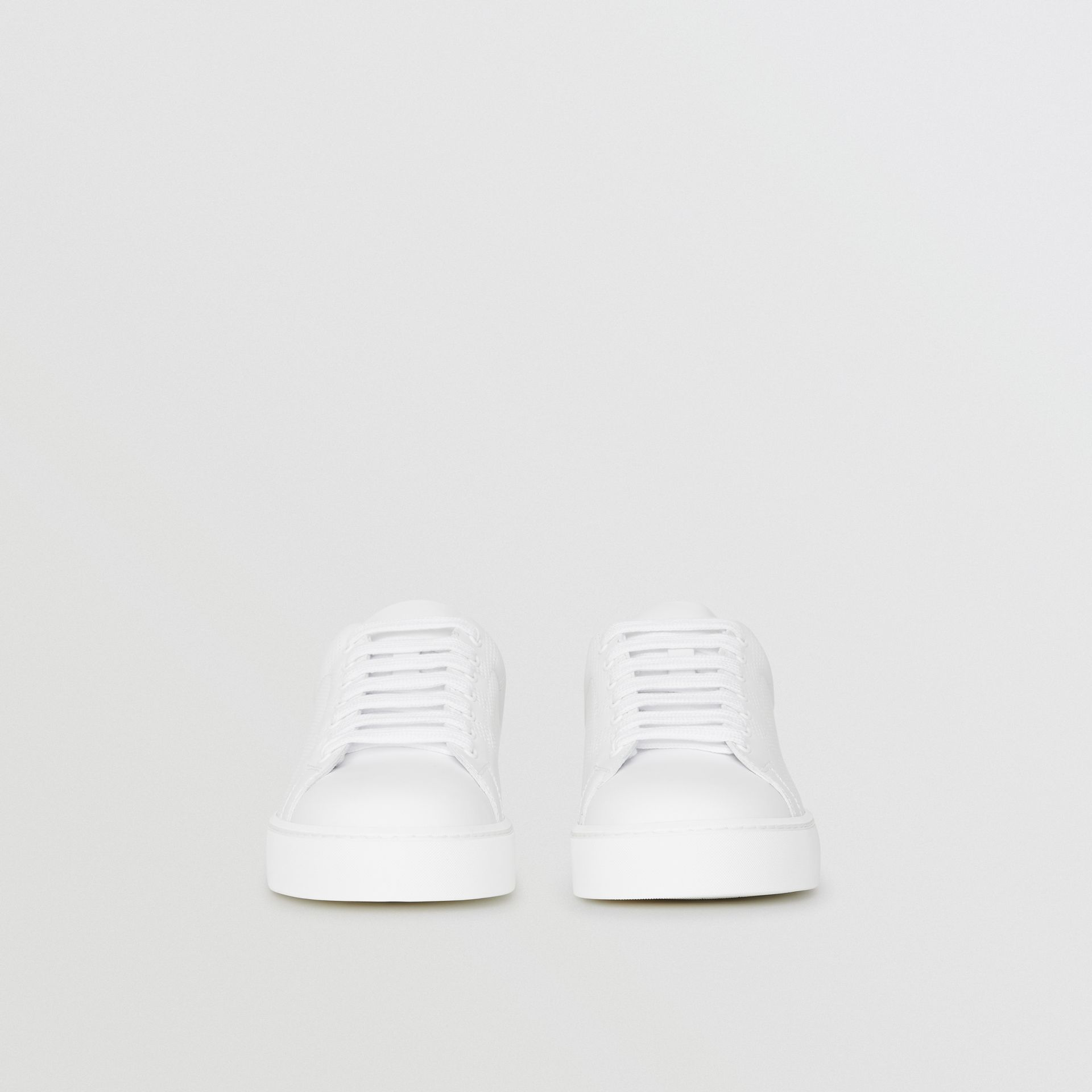 Perforated Check Leather Sneakers in Optic White - Women | Burberry United Kingdom - gallery image 4