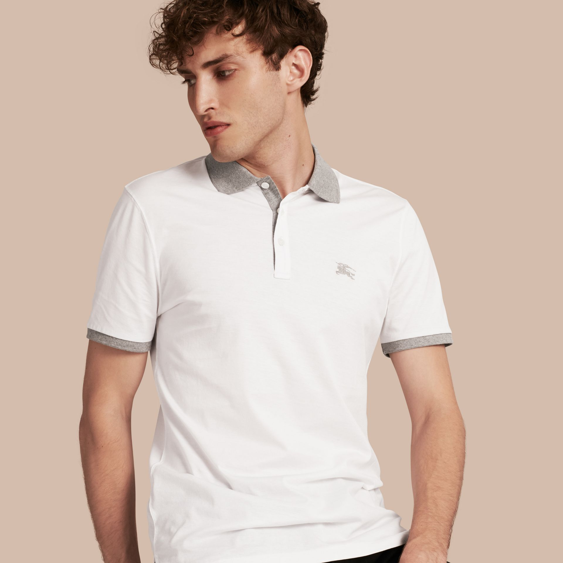 White Fitted Cotton Polo Shirt with Tonal Trim White - gallery image 1
